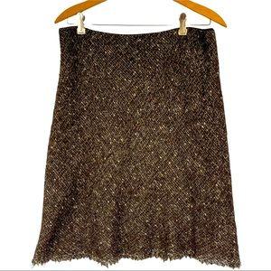 Elie Tahari Lined Brown Tweed Fringed Skirt Sz. 10